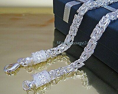 Exklusive Königskette 50 cm 5 mm Halskette  Silber plattiert Panzerkette Unisex