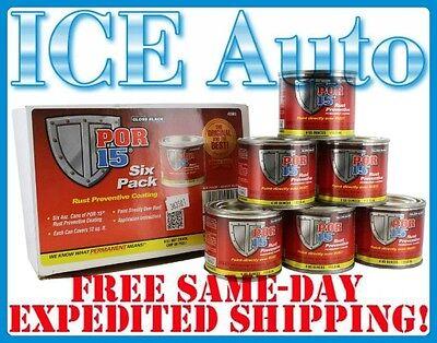6 Pack Of Por 15 45006 4 Oz Cans Gloss Black Rust Preventative Paint Por15