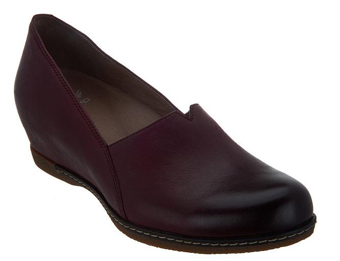Dansko Nubuck Leather Closed Toe Wedges Shoes Liliana Wine E