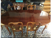 Extendable mahogany antique-style dining table and 6 chairs (can seat 8-12)