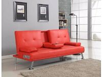 RED Bluetooth Cinema Sofa Bed with Drink Cup Holder Table Faux Leather