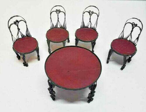 Dollhouse Miniature Decor Patio Furniture Set Table  & 4 Chairs