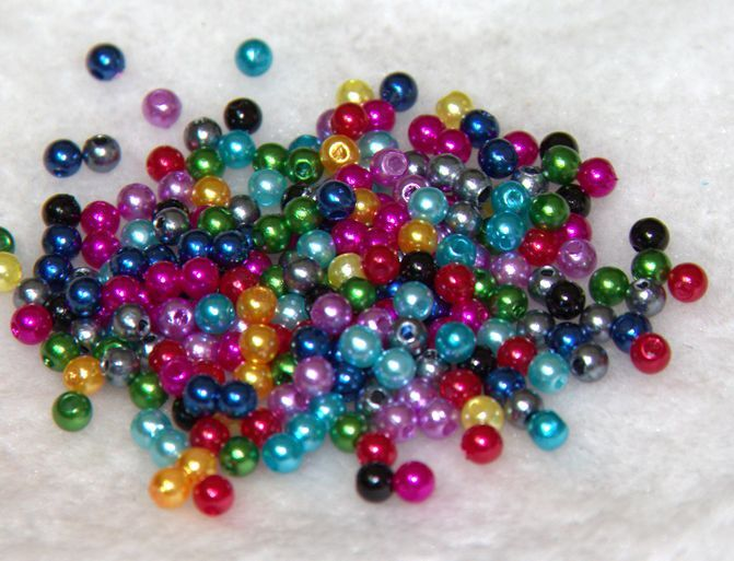 500Pcs 4MM Quality  Acrylic Round Pearl Spacer Loose Beads