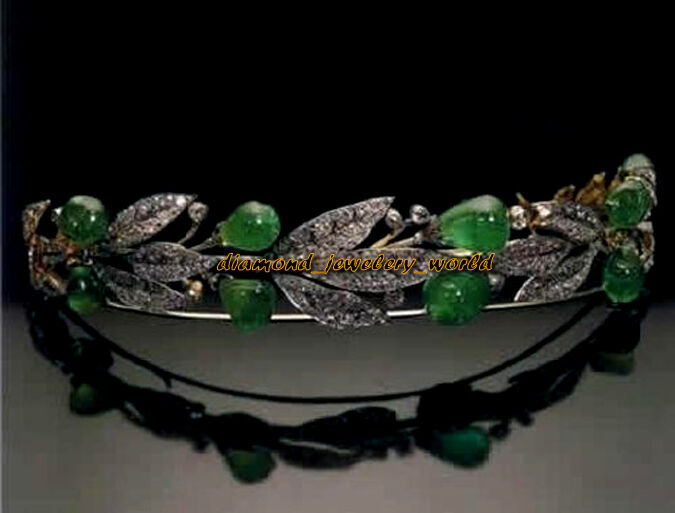 7.89ct Pave Rose Cut Diamond Emerald Studded Silver Antique Finish Tiara Jewelry