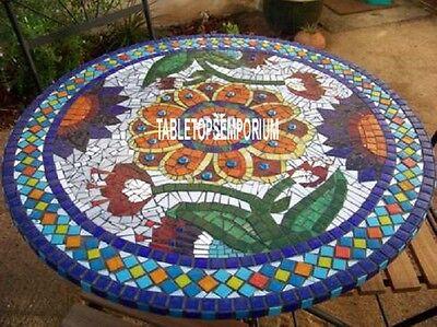 132cm Mármol Blanco Redondo Centro Comedor de Mesa Mosaico Interior Diseño Boda
