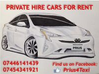 Private hire taxi for rent