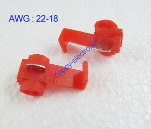 50PCS Red Scotch Lock Quick Splice 22-18 AWG Wire Connector