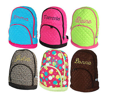 Personalized Quilted Kids Girl School Book Bag Backpack Monogram Name Embroidery - Personalized Bookbag