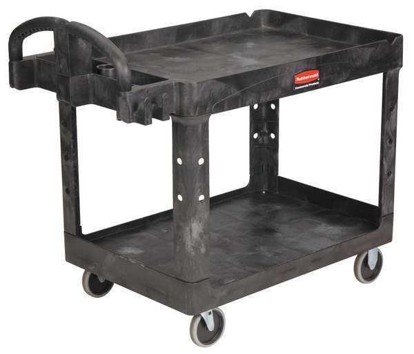 RUBBERMAID FG452088BLA 500 lb. Ergo Handle Lipped Shelf Black Utility Cart