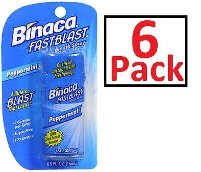 Binaca Fast Blast Breath Spray PepperMint 0.50 oz- 6 pack - Always Fresh ! ! Breath Fresh Spray