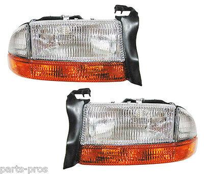 New Replacement Headlights & Turn Signals PAIR / FOR DODGE DAKOTA & DURANGO