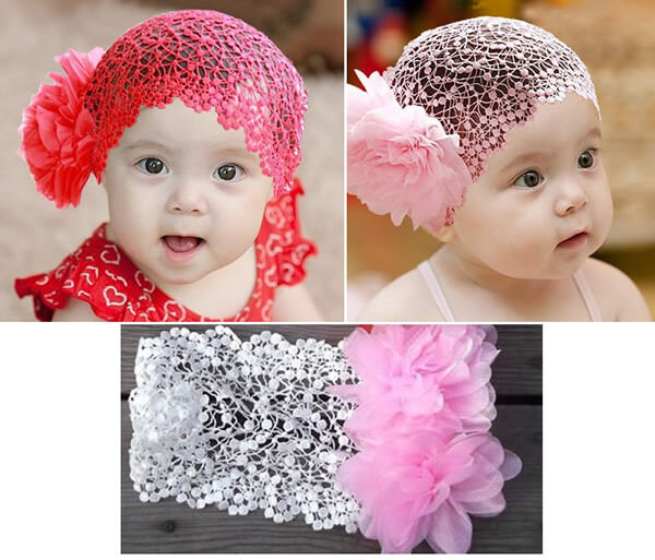 1pc New Baby Girl Toddler Lace Headband Hair Bow Accessories 3 Colors Headwear