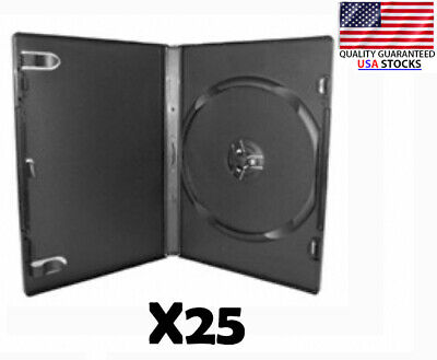 25 Black Dvd Cases New - 14.5mm Standard Empty Dvd Movie Case - Free Shipping