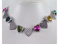 NEW Ladies Jewellery Colour facet heart statement necklace