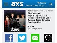 2x tickets to The Vamps, O2 London, Sat 28th Apr