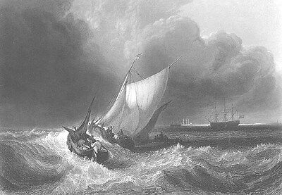 Ship SAILBOATS in OCEAN SEA STORM WAVES ~ Old 1862 Seascape Art Print Engraving