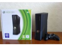 Xbox 360 Slim 4GB - complete with 2 wireless & 2 wired controllers