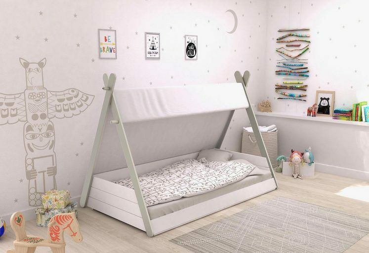 zeltbett kinderbett 90x200 jugendbett wei grau tipi zelt. Black Bedroom Furniture Sets. Home Design Ideas