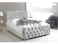 Florida Upholstered silver crush velvet bed frame in different size available (3FT BED FRAME)