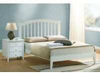 White wood double bed frame with 4 drawers
