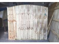Bow Top Garden Fence Panels * Wooden Feather Edge * High Quality