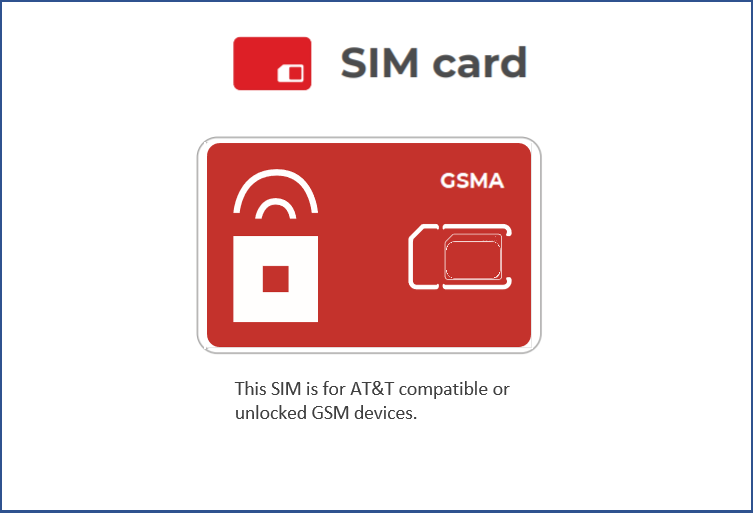 SIM Type GSMA (AT&T Compatible Phone)