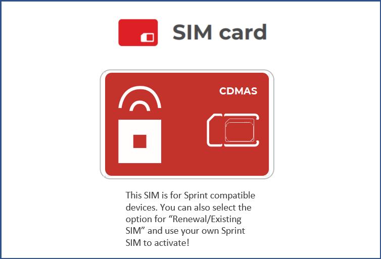 SIM Type CDMAS (Sprint Compatible Phone)