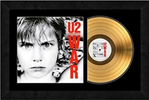 """War by U2 Album Cover with 24kt Gold Plated Record (Size: 17"""" x 26"""") Framed"""