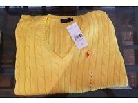 Brand new original women's Ralph Lauren jumper size L yellow