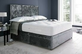 new double 4ft6 divan bed with mattress chenille grey charcoal top quality single & king available