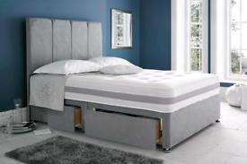 "Brand New 4'6""ft (double) Plush Velvet bed and lined headboard"