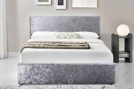 Silver or black crushed velvet bed frame