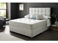 White Leather Divan Bed Set Plus Headboard
