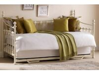 Cream Versailles Day Bed Frame with Trundle Bed and Two Mattresses