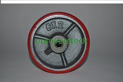 6 X 2 Polyurethane On Cast Iron Wheel For Casters Or Equipment 1200 Lb Cap