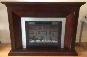 Large Free Standing Electric Fireplace in Espresso w/Remote