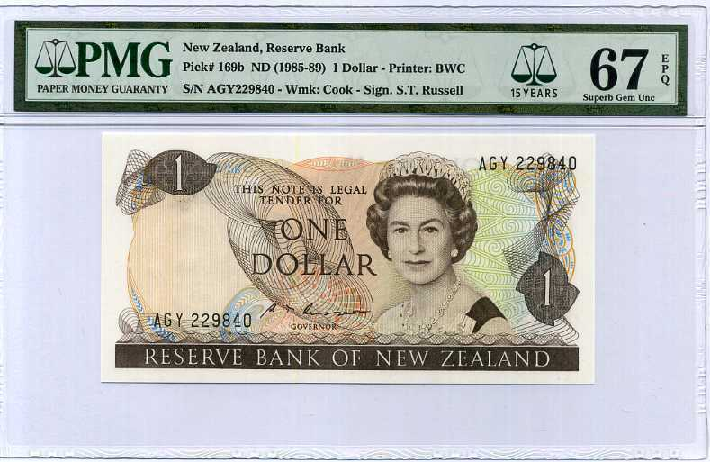 NEW ZEALAND 1 DOLLAR ND 1985-89 P 169 B SUPERB GEM UNC PMG 67 EPQ