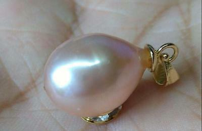 collect AAA 10x12mm Pink South Sea Pearl Pendant Necklace ( white alloy ) 17-18