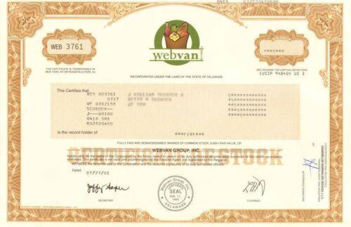webvan.com > online internet grocery website stock certificate > now Amazon