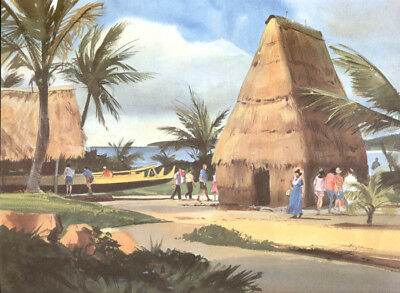 "TOM HOYNE 1968 SEA LIFE PARK OAHU HAWAII Waimanalo 12x16"" Nice Cond for sale  Shipping to Canada"
