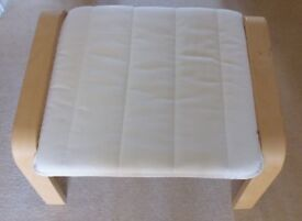IKEA Poang footstool, blond wood and cream upholstery. Very good condition, as new.