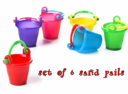 6 pc MINIATURE SAND PAIL Pails BUCKET for DOLLHOUSE or FAIRY GARDEN in PLASTIC