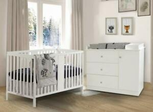 Trio#2 William: Lit de bébé convertible 4 en 1 +Bureau Combo Nova + Matelas Peaceful Night (Blanc)