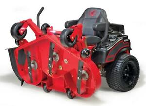 BigDog zero-turn mowers, 7 year warranty!!! Even one you dont need to jack up to clean the deck, just push a button!