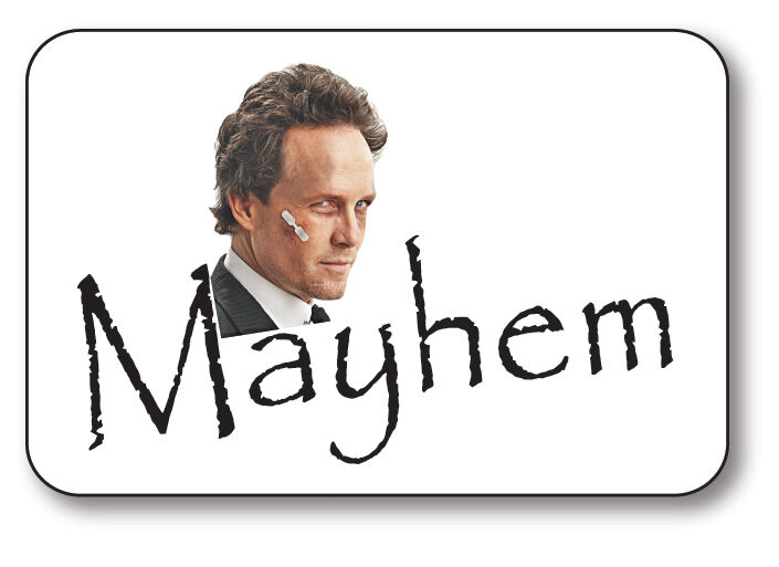 MAYHEM FROM ALLSTATE COMMERCIAL NAME BADGE HALLOWEEN COSTUME PROP PIN BACK