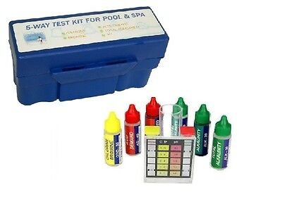 5 Way Deluxe Pool Spa Water Test Kit Tester Chlorine Bromine pH Alkalinity Acid ()