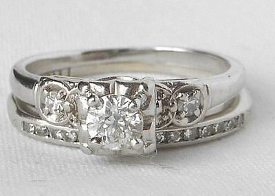 Vintage JABEL 18k W Gold Art Deco .40Ct Diamond Engagement Ring+Wedding Band Set for sale  Watervliet