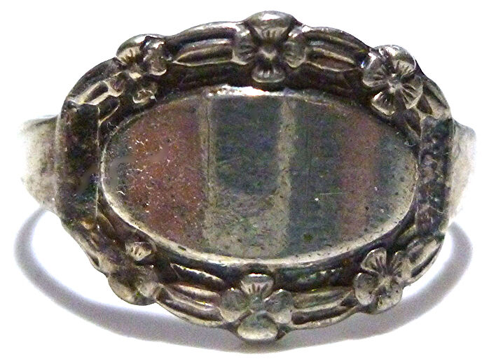 ART DECO SWEETHEART MILITARY FLOWER SIGNET CREST INITIAL STERLING SILVER RING