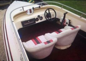 18ft grp speedboat with 150hp outboard and twin axle trailer