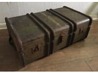 Fantastic Large Vintage Green Steamer Trunk Complete with Inner Tray